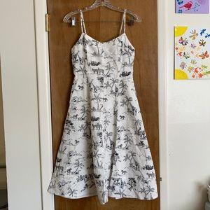 Banana republic linen cotton blend strap dress